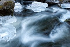 Fluent water. Icicles and stones in mountain river Royalty Free Stock Photo