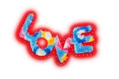 Fluff e lantejoula vermelhos do amor da etiqueta fotografia de stock royalty free