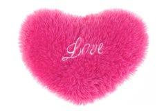 Fluffig hjärta-formad kudde Fotografering för Bildbyråer