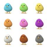 Fluffiga färgrika fågelungar Arkivfoto