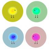 Fluffiga ljusa fåglar i cirklar Arkivbilder