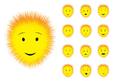 Fluffy. Cartoon fluffy emotions smiley on the white background Royalty Free Stock Images