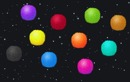 Fluffy balls in the space Royalty Free Stock Photo