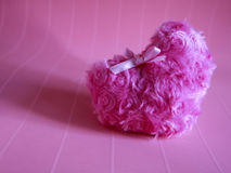 Fluffy beautiful pink heart for sweet love and valentine. On pink abstract background Stock Images