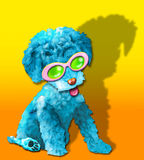 Fluffy blue glamor puppy. A fun, whimsical painting of an adorable mop-top blue colored puppy in movie star sunglasses. Very storybook in nature stock illustration