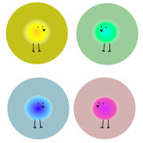 Fluffy bright birds in circles Stock Images