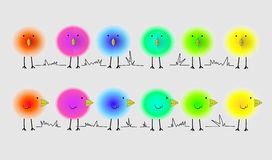 Fluffy bright birds Stock Image