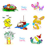 Fluffy Bunny and chick is holding an Easter egg and next to the Royalty Free Stock Photos