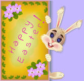 Fluffy bunny rabbit easter greeting card. Vector illustration. Vector background royalty free illustration