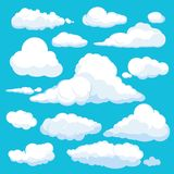 Fluffy cartoon clouds. Shine sky weather illustration panorama clean vector set isolated stock illustration