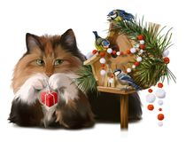 Fluffy cat and chickadees decorate the house Stock Photos