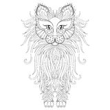 Fluffy Cat in zentangle style. Freehand sketch Stock Photo
