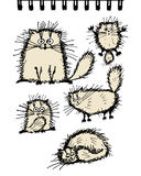 Fluffy cats collection, sketch for your design Royalty Free Stock Photo