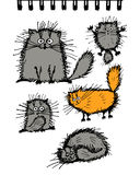 Fluffy cats collection, sketch for your design Stock Images