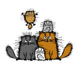 Fluffy cats family, sketch for your design Stock Image