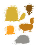 Fluffy cats silhouettes, sketch for your design Stock Photos