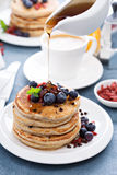 Fluffy chocolate chip pancakes Stock Images