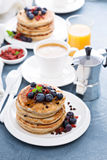 Fluffy chocolate chip pancakes Royalty Free Stock Photo