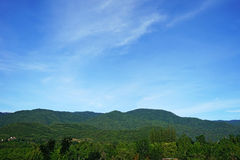 Fluffy cloud , blue sky and green mountain view. Landscape Royalty Free Stock Photo