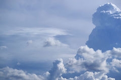 Fluffy Cloud Floating on Bright Blue Sky, a Sunny Day in Monsoon Season of Bangkok Royalty Free Stock Photos