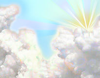 Fluffy cloud painting. A bright painting of fluffy cotton-like clouds with the sun's rays peaking through stock illustration