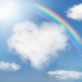 Fluffy cloud of the shape of heart Stock Photography