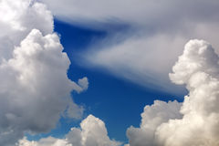 Fluffy clouds in the blue sky. Royalty Free Stock Image