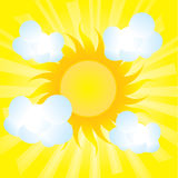 Fluffy clouds next to the sun. Abstract fluffy clouds next to the sun Royalty Free Stock Images