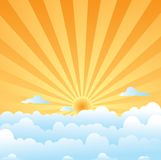 Fluffy clouds sun Royalty Free Stock Images