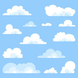 Fluffy clouds vector - Collection of stylized cloud silhouettes, set. Vector isolated Stock Photos