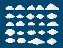 Fluffy clouds vector set Stock Photos