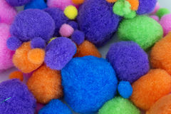 Fluffy colorful craft Pom Poms. This is a photograph of Fluffy colorful craft Pom Poms Royalty Free Stock Photography