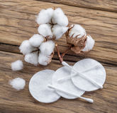 Fluffy cotton ball and cotton swabs and pads. Stock Photography