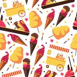 Fluffy cotton candy, ice cream and food truck in seamless pattern about amusement park, holidays and family time spend together.  vector illustration