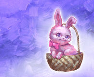 Fluffy cute pink easter rabbit Royalty Free Stock Photo