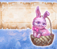 Fluffy cute pink easter rabbit Stock Photos