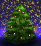 Fluffy decorated christmas tree. Fluffy christmas tree decorated with red toy balls Royalty Free Stock Images