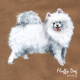 Fluffy dog painting, greeting card Stock Photo