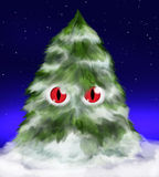 Fluffy evil fir tree with eyes and snow. Funny fir tree - fluffy, red eyed and evil - covered with snow, standing under stars in the night Stock Photo