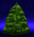 Fluffy fir tree under stars. In the night Stock Photography