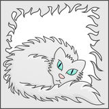 Fluffy Frame With White Fluffy Cat Vector Illustration Royalty Free Stock Photos