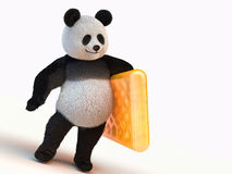 Fluffy, fuzzy, furry, downy 3d render panda character. Furry panda stands on two legs and holding the left leg orange inflatable mattress Royalty Free Stock Images