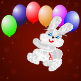 Fluffy hare with  balloons on a claret background Stock Photo
