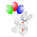 Fluffy hare with  balloons on a white background Stock Image