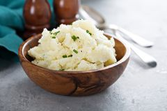 Fluffy mashed potatoes with chives royalty free stock photo
