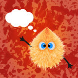 Fluffy monster drawing with texture and talking balloon. Vector Royalty Free Stock Photo