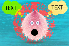 Fluffy monster drawing with texture and talking balloon. Vector Stock Photo