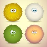 Fluffy monsters. Cute cartoon fluffy creature with different emotions and colors, for games. Vector illustration Stock Photos