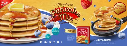 Fluffy pancake banner ads. With fruit and honey dripping on it, 3d illustration royalty free illustration