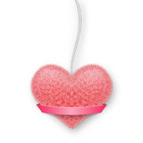 Fluffy pink heart on a rope with a banner for your text. Royalty Free Stock Photography